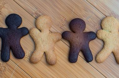 Sad burnt and ready colorful gingerbread cookies. Dessert, dough.