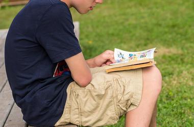 Boy, Reading, Comic Book, Graphic Novel