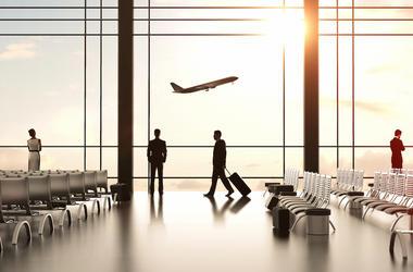 Airport, Airplane, Boarding, Travelers, Sunrise