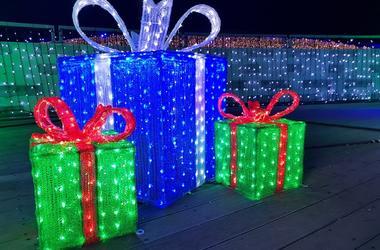 Christmas lights gift box, illuminated presents at night