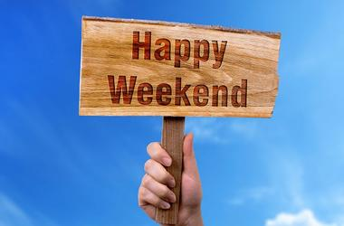 Happy weekend wooden sign