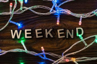 Weekend word with led lamp garland