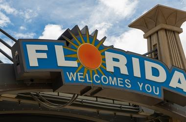 Florida Welcomes You Sign Southern USA Palm Trees