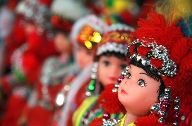 Colorful dolls dressed in traditional Hmong tribe