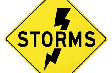 Storms Yellow Warning Sign Lightning Dangerous Forecast
