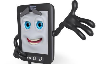 3D cartoon cell phone with arm raised