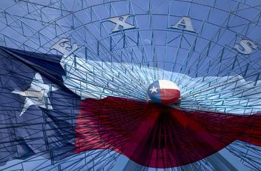 Ferris wheel and Texas state flag