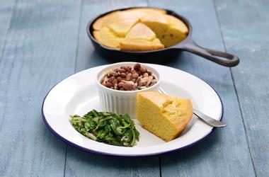 Beans and greens with cornbread, southern cooking. Golden, homemade.