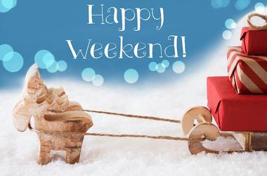 Reindeer, Sled, Light Blue Background, Text Happy Weekend