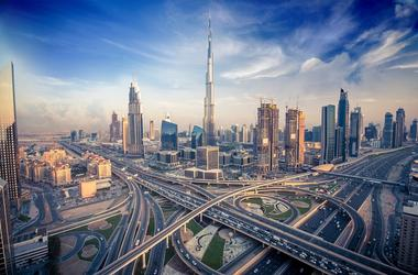 Dubai skyline with beautiful city close to it s busiest highway on traffic. Burj, downtown.