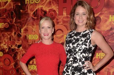 Angela Kinsey, Jenna Fischer, HBO Emmy Party, Red Carpet, 2015
