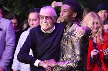 """01.29.18 - Stan Lee and """"Black Panther"""" star Chadwick Boseman at Marvel Studio's LA Premiere of the movie at The Dolby Theatre - Hollywood"""
