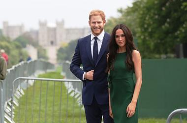 5/16/2018 - Madame Tussauds' wax figures of Prince Harry and Meghan Markle are paraded along the Long Walk in Windsor ahead of the royal wedding this weekend