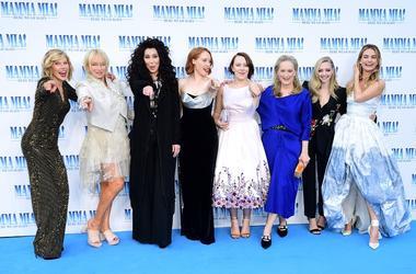 7/16/2018 - Christine Baranski, Judy Craymer, Cher, Jessica Keenan Wynn, Alexa Davies, Meryl Streep, Amanda Seyfried and Lily James attending the premiere of Mamma Mia! Here We Go Again held at the Eventim Hammersmith Apollo, London.