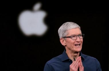 Tim Cook opens the Apple's annual product launch, Wednesday, Sept. 12, 2018, at company headquarters in Cupertino, Calif
