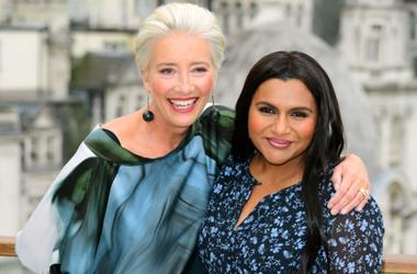 5/17/2019 - Emma Thompson (left) and Mindy Kaling during the Late Night photocall held at the Corinthia Hotel, London.