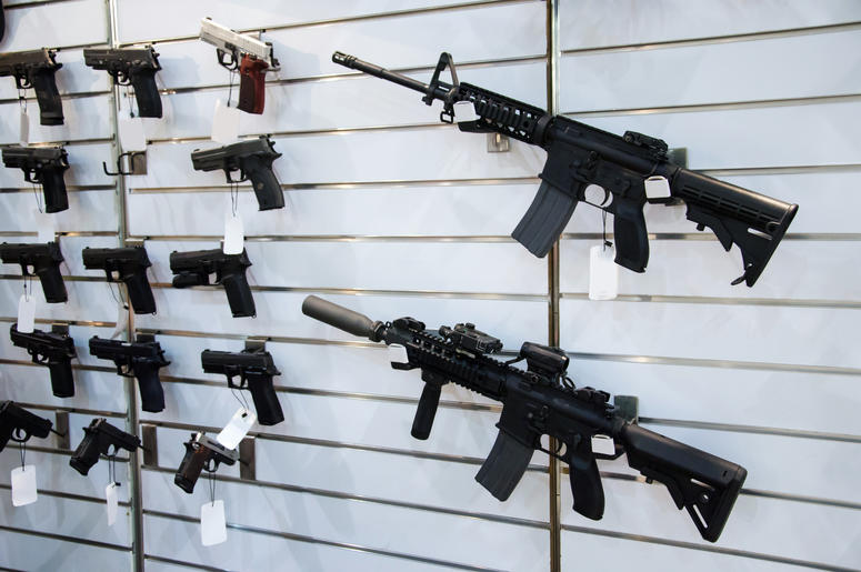 Weapons on display at a gun store