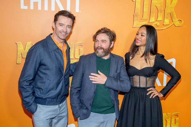 NEW YORK, NEW YORK - APRIL 07: Actors Hugh Jackman, Zach Galifianakis and Zoe Saldana attend the 'Missing Link' New York Premiere at Regal Cinema Battery Park on April 07, 2019 in New York City.