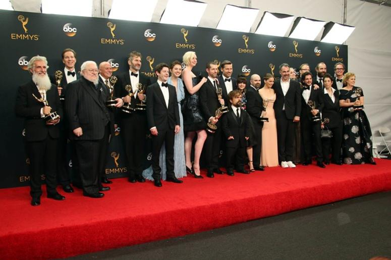 Sep 18, 2016; Los Angeles, CA, USA; The cast and crew of Game of Thrones pose with their Awards for Outstanding Drama Series in the photo room during 68th Emmy Awards at the Microsoft Theater