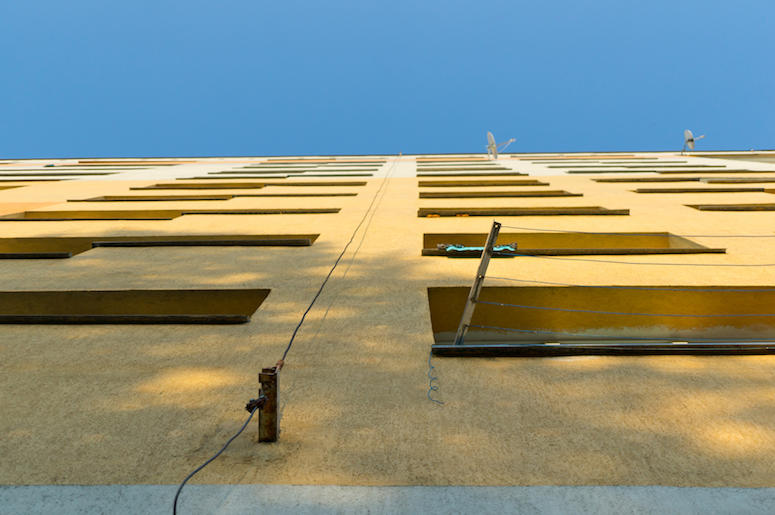 Apartment, Building, Windows, Looking Up