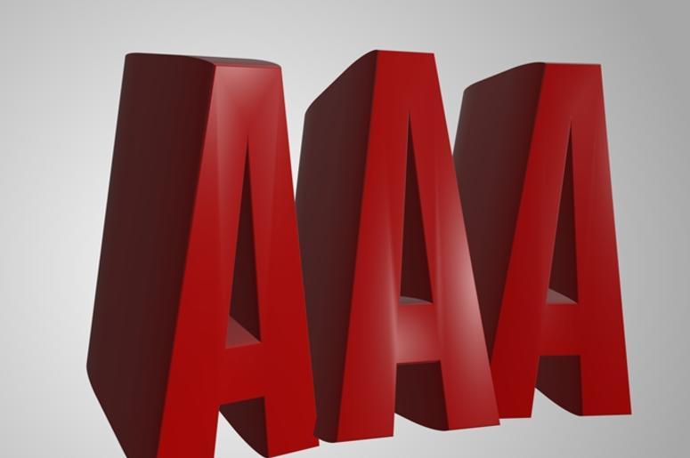 AAA 3d render word text