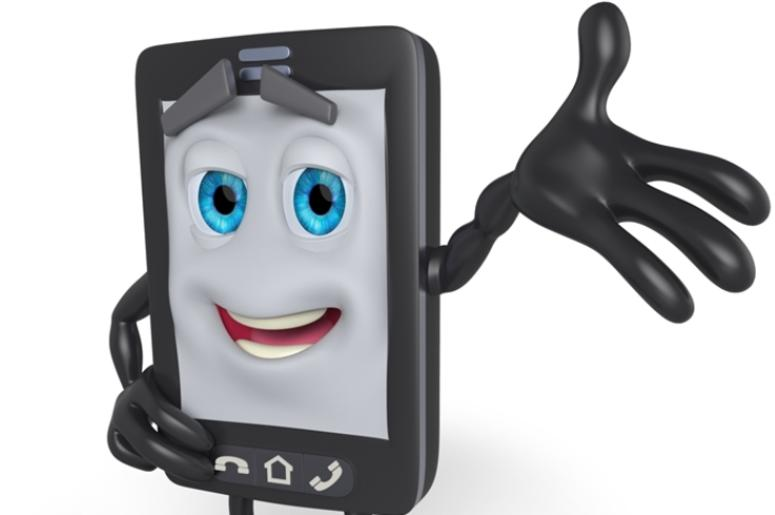 3D cartoon cell phone with arm raised