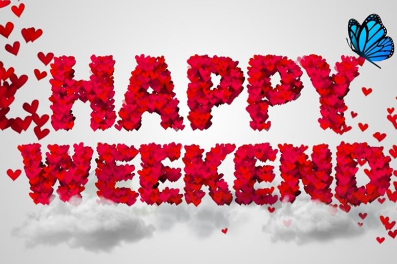 Happy Weekend Particles Red Heart Shape 3D