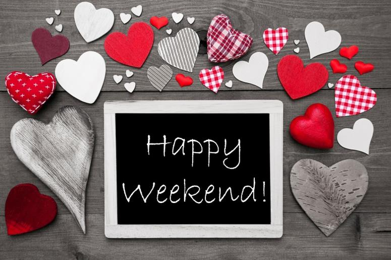Black And White Chalkbord, Red Hearts, Happy Weekend.
