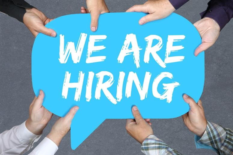 Group of people holding We are hiring jobs, job working recruitment
