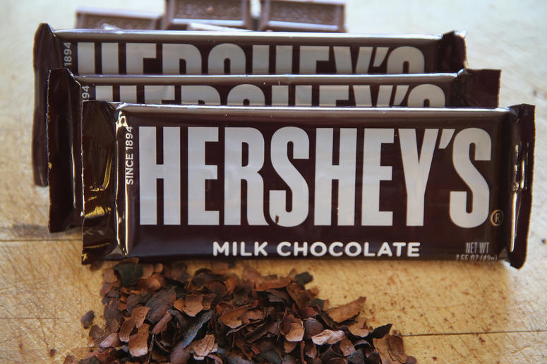 A pile of Hershey's chocolate bars