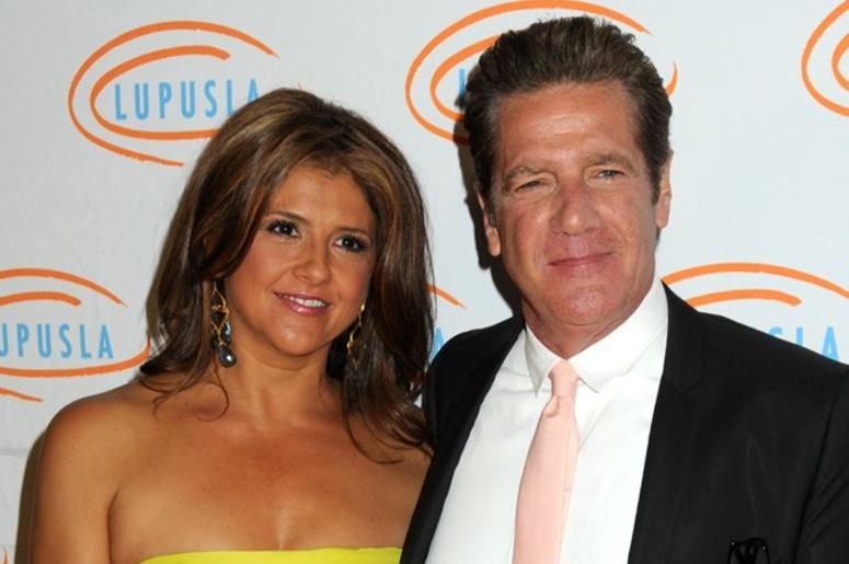 """18 January 2016 - Glenn Frey, guitarist and co-founder of the """"Eagles,"""" has died at the age of 67. File Photo: 6 May 2010 - Beverly Hills, California - Glenn Frey and wife Cindy. Lupus LA Orange Ball 2010 held at the Beverly Wilshire Hotel"""