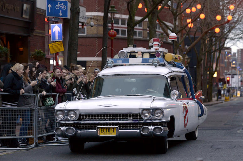 Ecto 1, Ghostbusters, Car, Vehicle, Street, Crowd, 2016