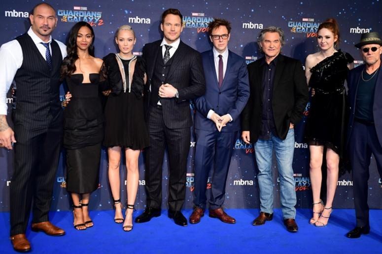 4/24/2017 - The cast (left to right) Dave Bautista, Zoe Saldana, Pom Klementieff, Chris Pratt, James Gunn, Kurt Russell, Karen Gillan and Michael Rooker attending The European Premiere of Guardians of the Galaxy Vol. 2 held at the Eventim Apollo, London