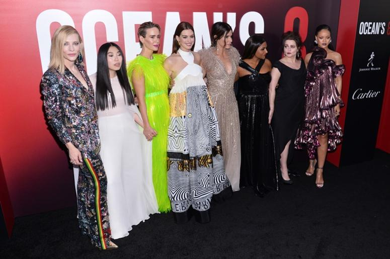 (L-R) Actors Cate Blanchett, Awkwafina, Sarah Paulson, Anne Hathaway, Sandra Bullock, Mindy Kaling, Helena Bonham Carter and Rihanna attend the World Premiere of 'Ocean's 8' at Alice Tully Hall at Lincoln Center in New York, NY, on June 5, 2018
