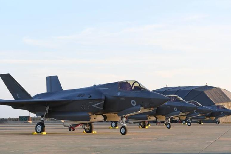 6/6/2018 - Britain's F-35B jets line up after they arrive at RAF Marham in Norfolk.