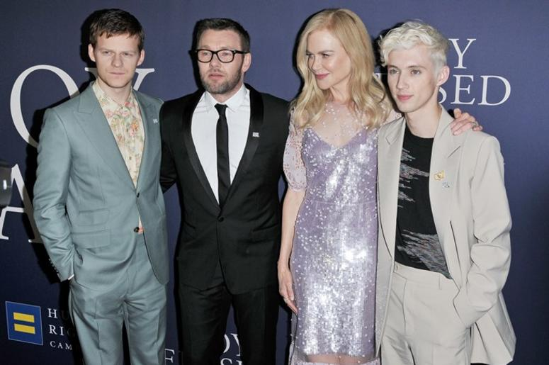 """(L-R) Lucas Hedges, Joel Edgerton, Nicole Kidman and Troye Sivan arrives at the """"Boy Erased"""" Los Angeles Premiere held at the DGA in West Hollywood, CA on Monday, October 29, 2018."""
