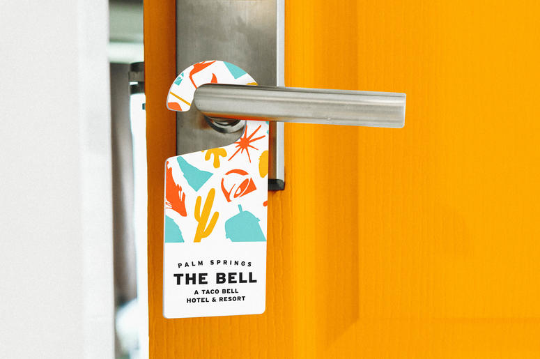 A door knocker for the Taco Bell Hotel in Palm Springs