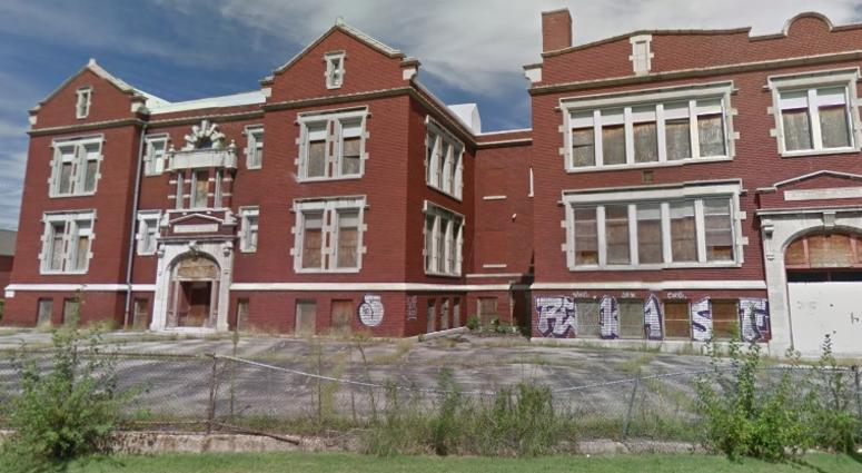 The former Crispus Attucks Elementary is graffitied and rundown