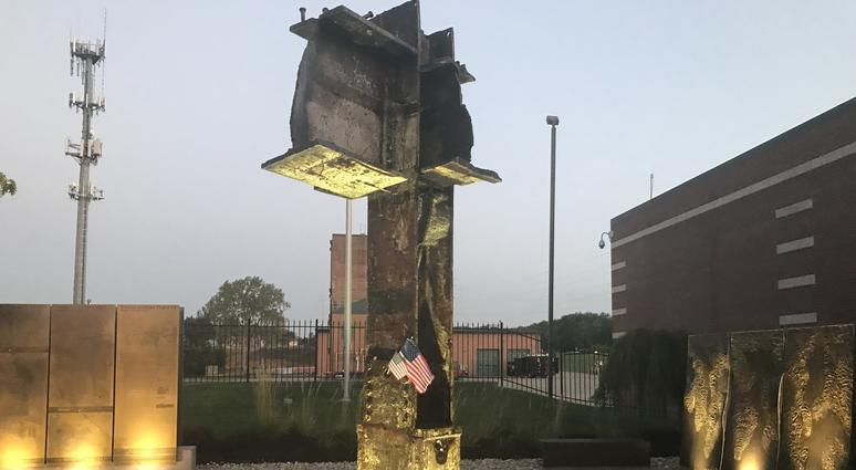 The 9/11 Memorial in Overland Park, made of girders from one of the World Trade Center Twin Towers