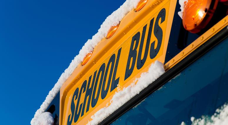 School bus with snow