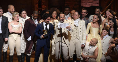 The original cast of Hamilton performs at the Grammy Awards