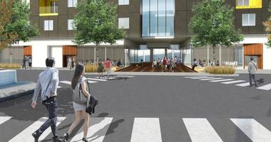 Artist's rendering of residential portion of Mission Gateway Project