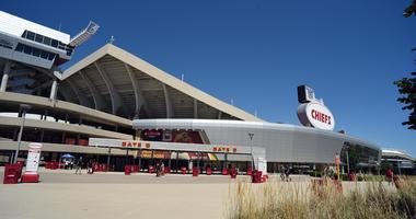 Exterior shot of Arrowhead Stadium in Kansas City