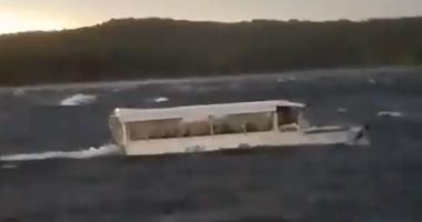 A screengrab from a video shot by Jenny Carr on July 19th, showing a duck boat fighting whitecaps in Table Rock Lake