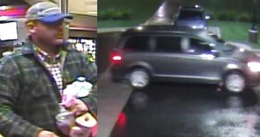 The suspect is seen with an armload of items at a convenience store on 159th Street in Overland Park.  Next is a picture of a dark gray minivan going through an intersection.