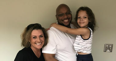 Ricky Kidd with his granddaughter and Dana Wright