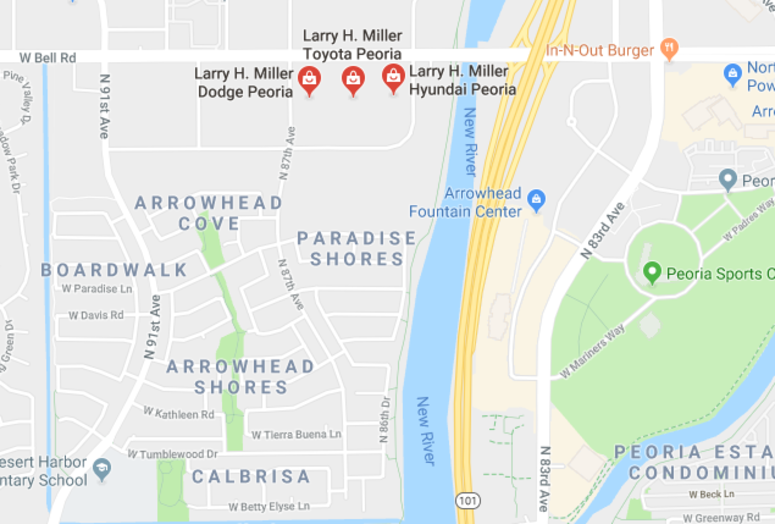 Map of Larry H Miller Peoria Dealerships