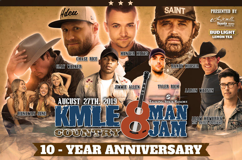 KMLE 8 Man Jam Line Up - Randy Houser, Clay Walker, Chase Rice, Aaron Watson, Hunter Hayes, Jimmie Allen, Tyler Rich, Runaway June and Adam Hambrick