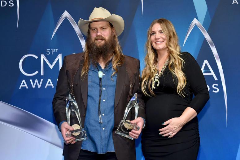 Chris Stapleton and Morgane Stapleton pose in the press room at the 51st annual CMA Awards at the Bridgestone Arena on November 8, 2017 in Nashville, Tennessee