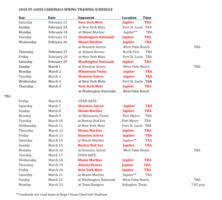 St Louis Cardinals Spring Training Schedule 2020 St. Louis Cardinals 2020 Spring Training Schedule | KMOX AM